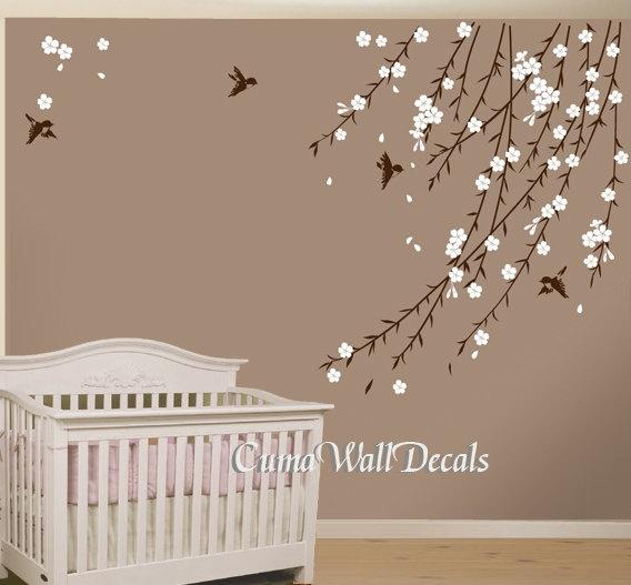 cherry blossom birds nursery wall decals tree vinyl wall by cuma, $47.00