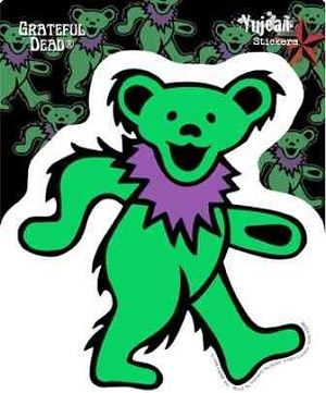"Grateful Dead - Green Dancing Bear Sticker - $4.00  Say hello to our little green friend. Grateful Dead dancing bear stickers come in different colors. This one is in green. Approximate  size is 5.5"" x 5"". Collect all the colors. Officially licensed Grateful Dead merchandise."