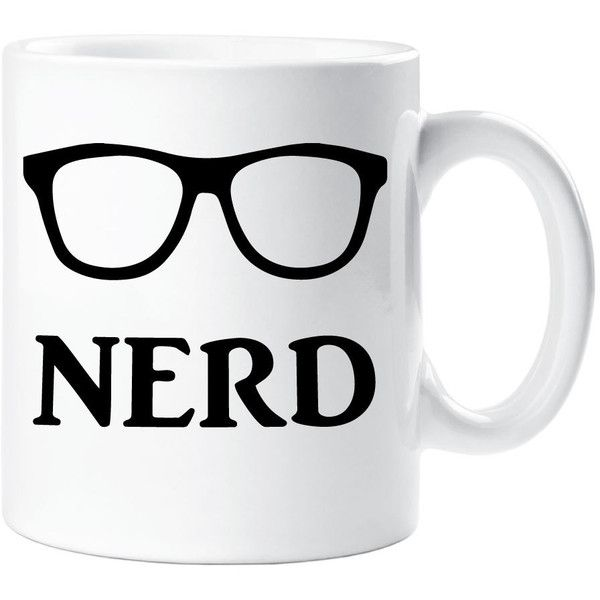 Nerd Mug Gift Ceramic Cup Glasses Quote Geek Genius Clever ($10) ❤ liked on Polyvore featuring home, kitchen & dining, drinkware, drink & barware, home & living, mugs, silver, wizard of oz cups, wizard of oz mug and ceramic mugs
