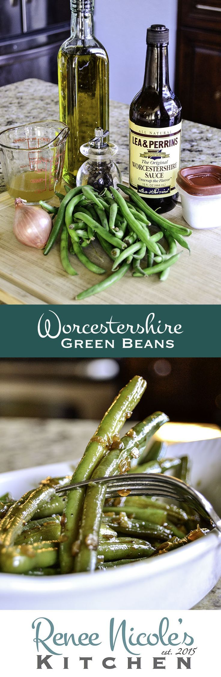 Bright, tender-crisp, green beans topped with a flavor packed shallot and Worcestershire sauce. Make you make extra!