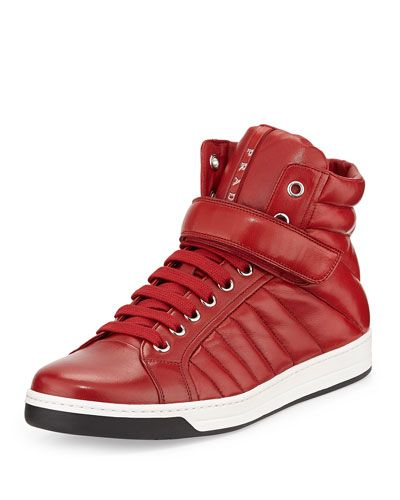 Quilted Leather High-Top Sneaker, Red