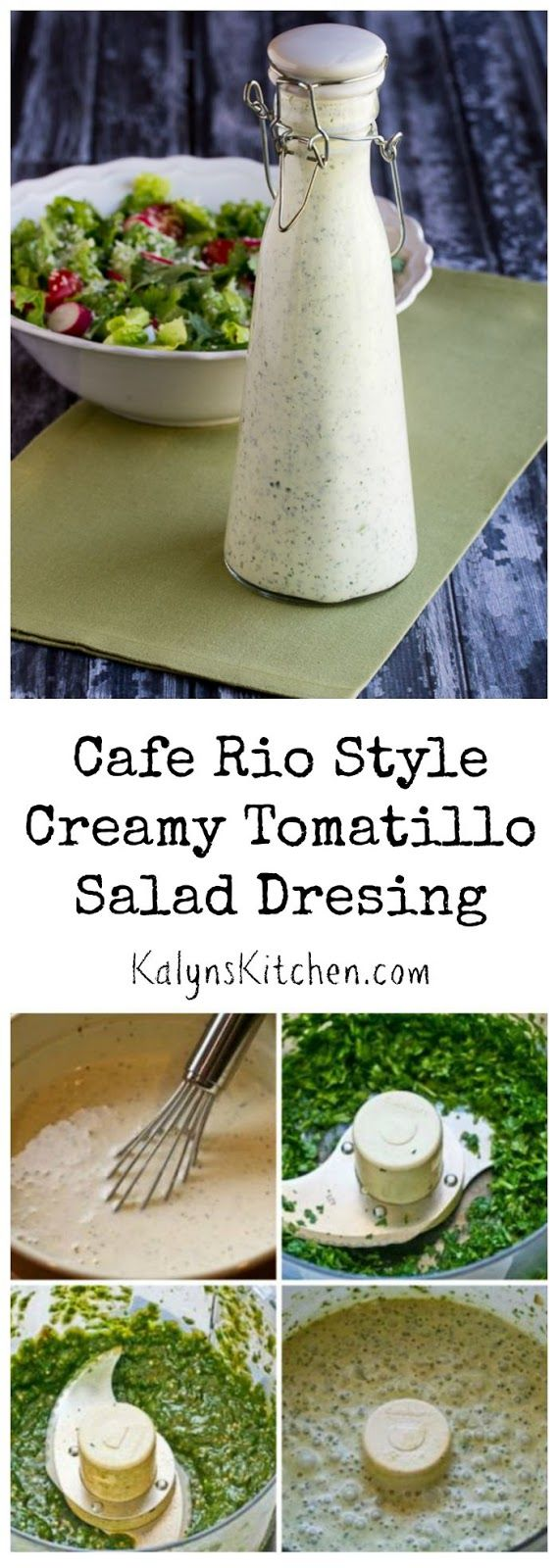Once you try the creamy Tomatillo Salad Dressing at Cafe Rio you'll be hooked and my recipe for Cafe Rio Style Creamy Tomatillo Salad Dressing can help you make it at home! [found on KalynsKitchen.com]