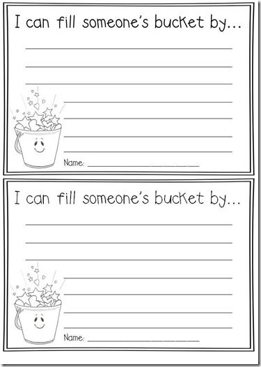 bucket filler writing templates and link to a cute song/video to reinforce bucket filling