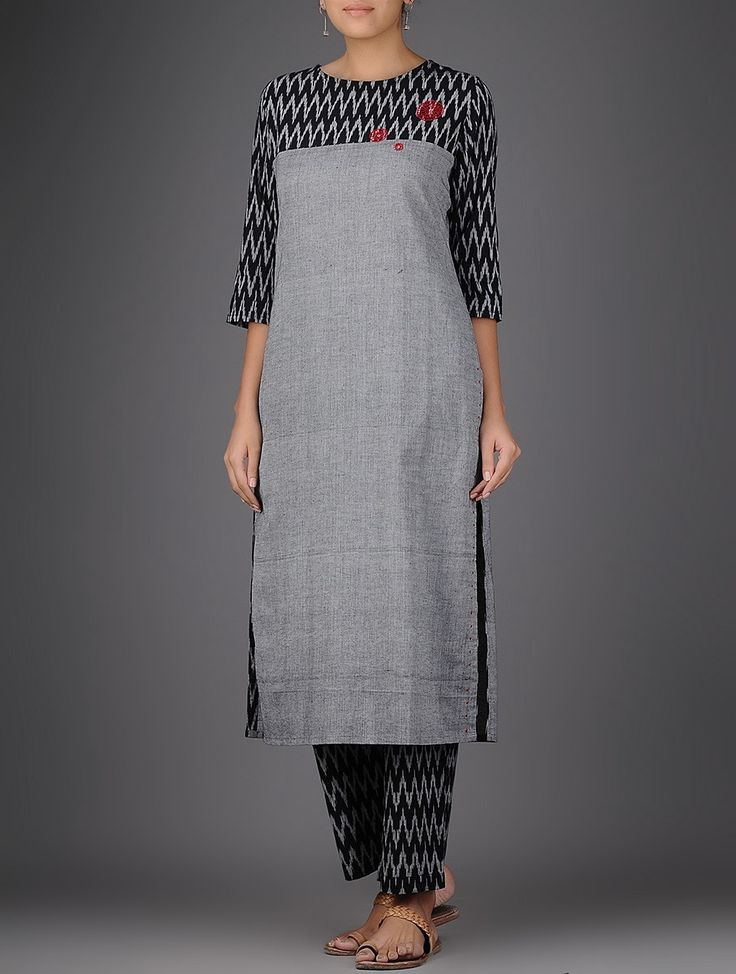 Grey-Black Ikat Hand-embroidered Handloom Cotton Kurta in ...