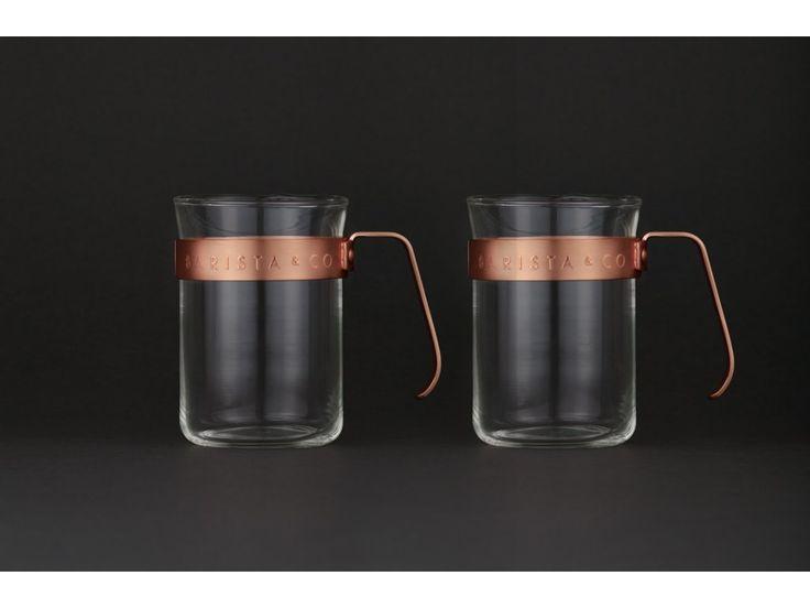Šálky na kávu 2ks BARISTA&Co Cups Copper | měď. Elegantní skleněne šálky na kávu