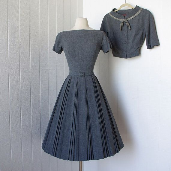 vintage 1950's dress  ...never worn classic PAT HARTLY ORIGINAL gray wool full skirt dress and bolero jacket with bow