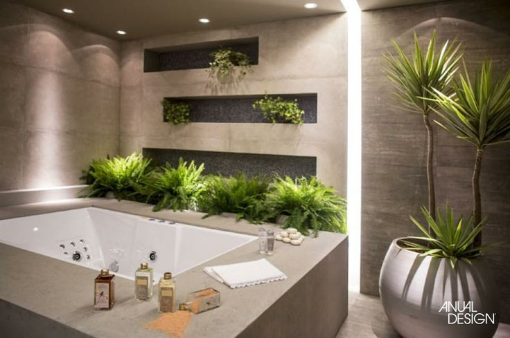 great use of plants in the bathroom...anualdesign