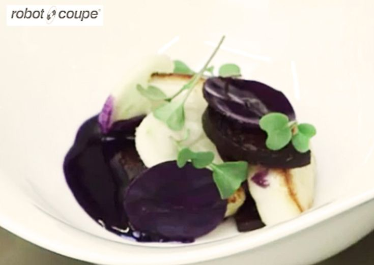 Roasted scallops with Black pudding, red cabbage jus recipe by professional chef Simon Hulstone, The Elephant, Torquay (Uploaded by Robot Coupe UK)