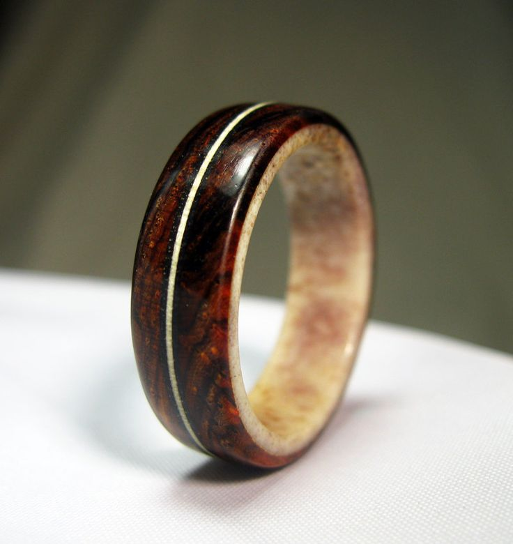 Wood Ring With Antler Lining Cocobolo And Naturally Shed