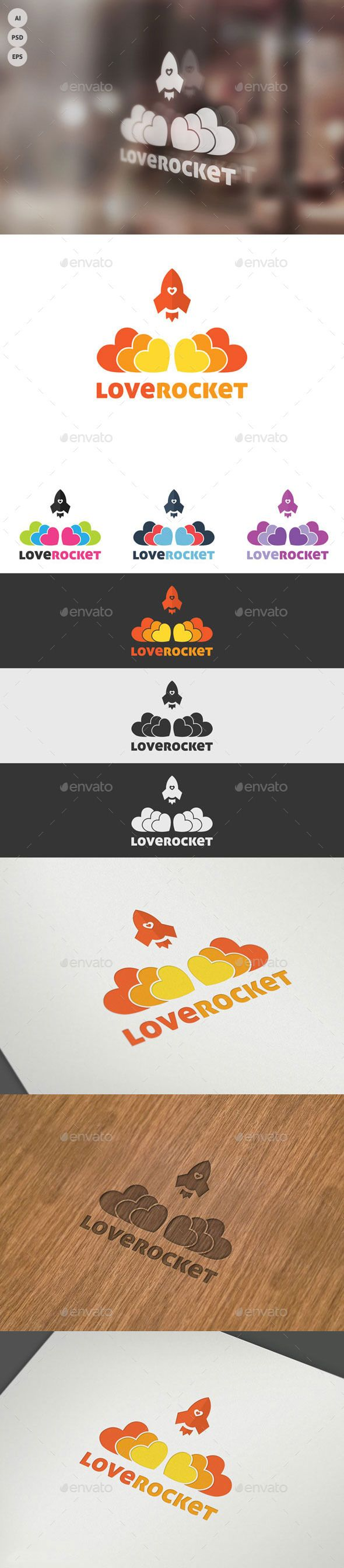 Love Rocket Logo — Photoshop PSD #love #colors • Available here → https://graphicriver.net/item/love-rocket-logo/9958115?ref=pxcr