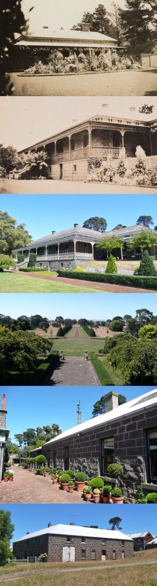 Meningoort Homestead, Bookaar (190km W of Melbourne). Original run taken up by Peter McArthur & Nicholas Cole 1839, divided 1842 into Meningoort (McArthur) and West Cloven Hills (Cole); their families still own both properties. In 1851 McArthur built a stone house and outbuildings on the slopes of an extinct volcano; in 1886 it was integrated into a large bluestone Italianate homestead by Melbourne architect Charles D'Ebro. It has been meticulously maintained in near 1880s condition.