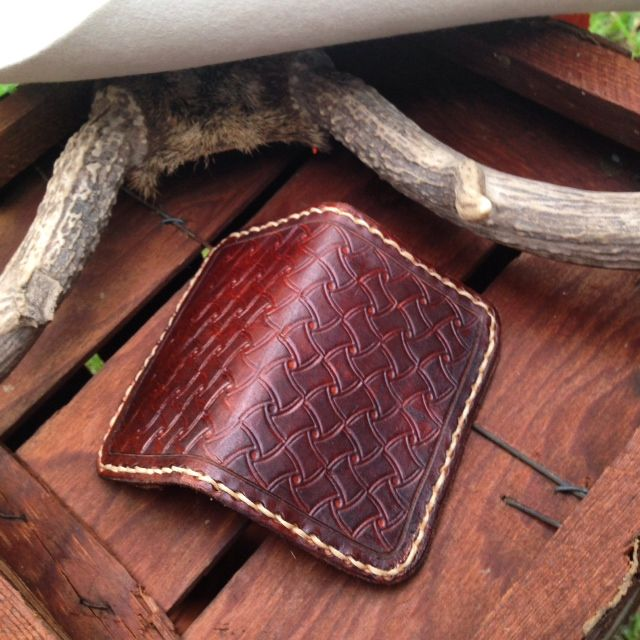 Leather Credit Card Wallet, Hand Tooled and Stitched.  Available at www.WesternDryGoods.com.