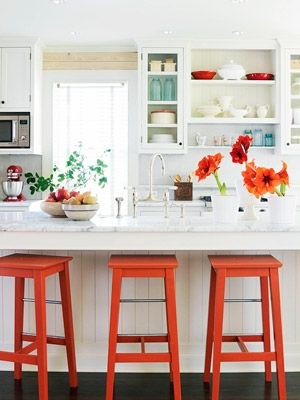 white with a pop.Decor, Ideas, Orange Stools, Open Shelves, Barstools, S'Mores Bar, Bar Stools, Bright Colors, White Kitchens
