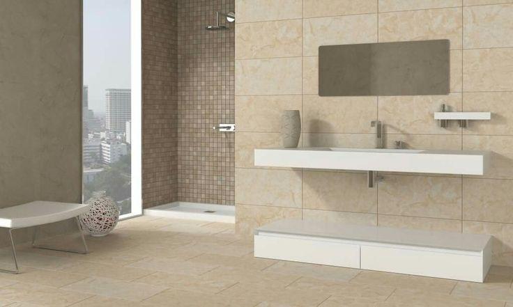 Beige (contraste con blanco lavabo,  sanitarios, etc)  + tono más oscuro (similar color topo)  para marcar la zona de ducha.