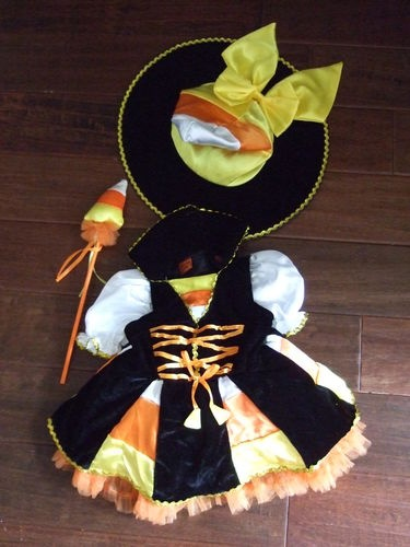 2T Girls Candy Corn Lane toddler Witch costume hat dress halloween 2 dress up | eBay