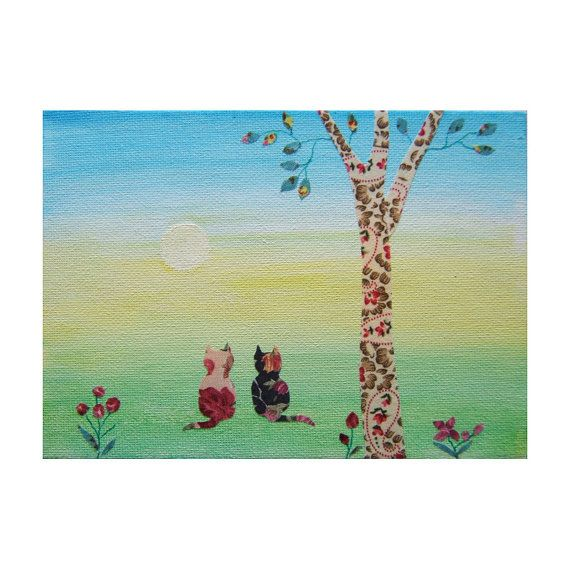 Two cats and a Dawn Sky by bitsanbobsanbags on Etsy