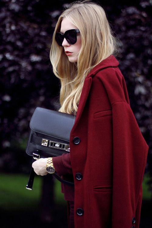 beautiful burgundy jacket.