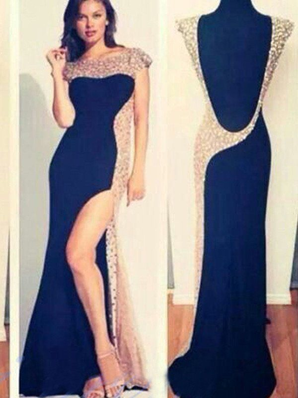 prom dresses long, Sheath/Column Bateau Floor-length Chiffon Prom Dress/Evening Dress #MK042
