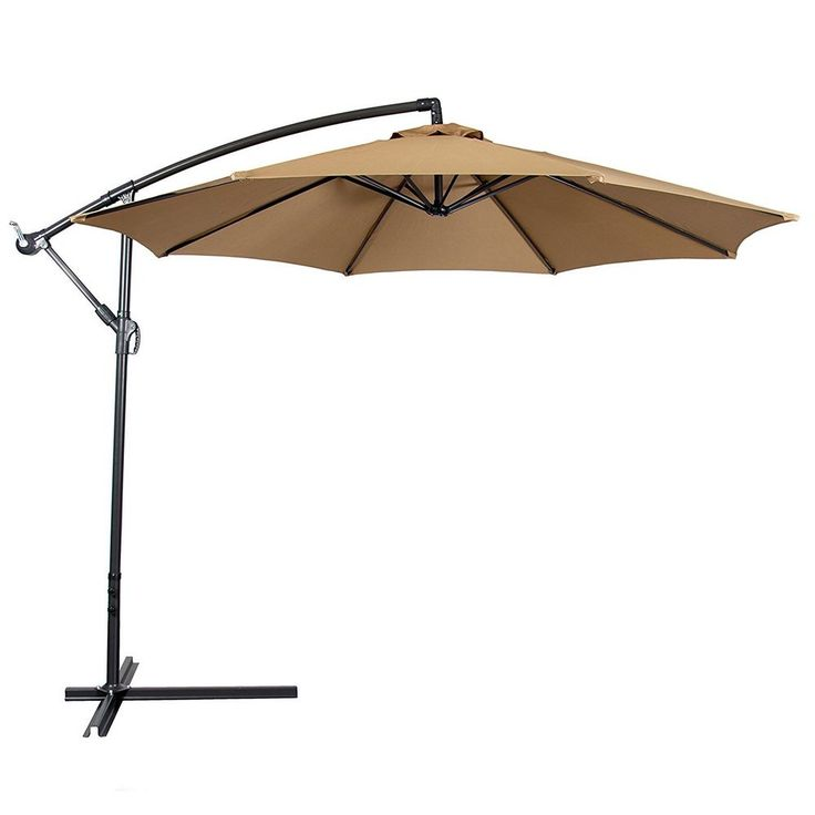 Large Patio Umbrella Canopy Free Standing Cover Shade Rain Sun 10 Ft Steel  Pole
