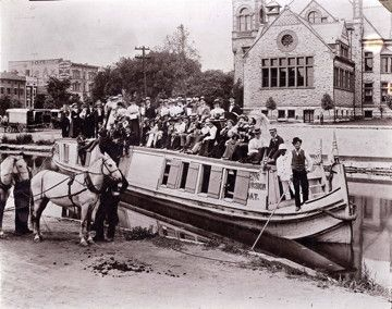 "Dayton, 1898: The Canal Boat ""Shamrock"" takes Steele High School students on a picnic trip via the Miami and Erie Canal."