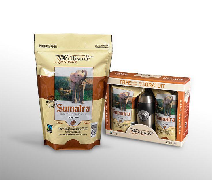 William Spartivento : Le café «Sumatra» est une variété provenant de la région de l'Indonésie de la marque William Spartivento. Il s'agit d'un café bio-équitable haut de gamme. En 2008, ce concept d'emballage permet d'épurer le concept initial de William Spartivento datant de 2000.   Celui-ci est ensuite décliné dans différentes applications, notamment une boîte cadeaux offerte avec un moulin à café.