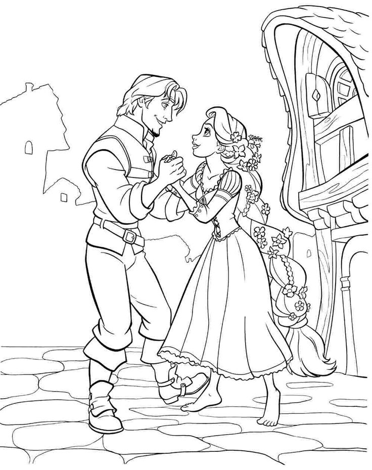 Rapunzel Has A Great Time Dancing With Flynn Coloring Pages