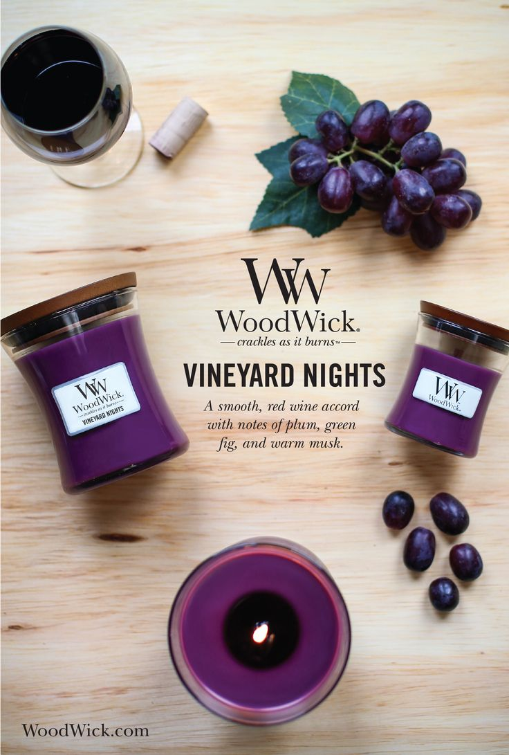 VINEYARD NIGHTS: A smooth red wine accord with notes of plum, green fig, and warm musk. Woodwick candles feature a natural wooden wick that crackles as it burns! #candles #woodwick #woodenwick #fruity #vineyard #wine