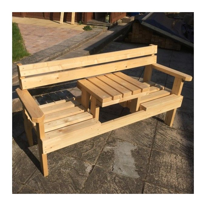 Magnificent 2 Seater Garden Bench With Small Table In Middle Masgf016 Gmtry Best Dining Table And Chair Ideas Images Gmtryco
