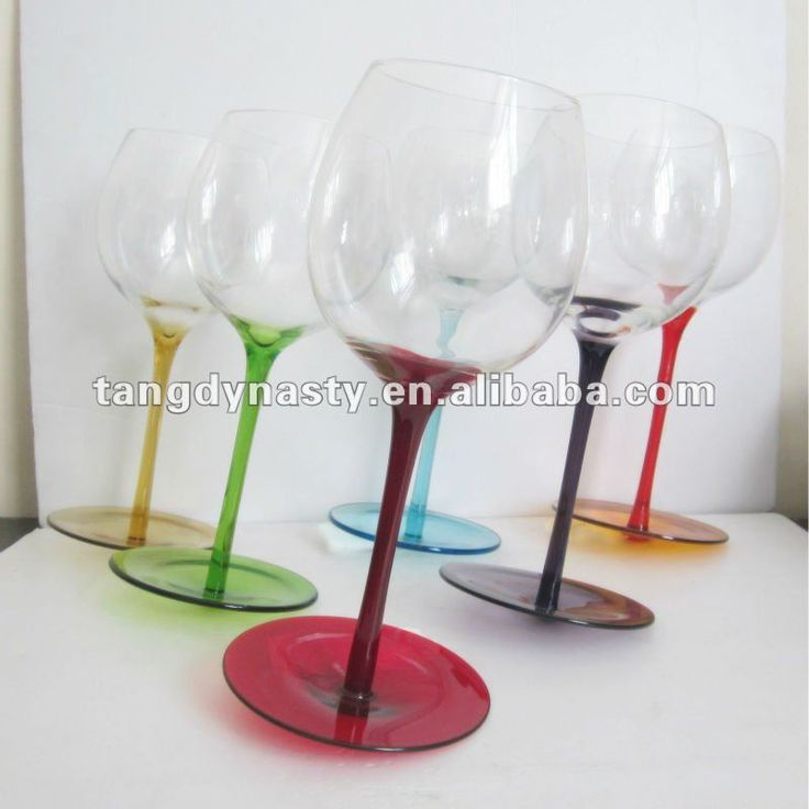 Hand Blown Colored Stem Wine Glass Drinking Glass Whole