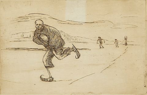 Hugo Simberg graphic..Death skating..