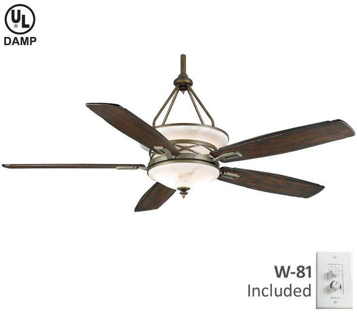 Aged Bronze Etl Damp Ceiling Fan Includes Reclaimed Antique Blades And Wall Control This Faux Alabaster Motor Housing Provides An Uplight Downlight To