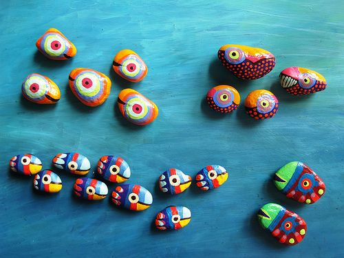 Sweet Underwater Life  Eye Fish, Spotted Whales, Good Luck Fish, Surgeon Fish - painted stone magnets by Mesekavics
