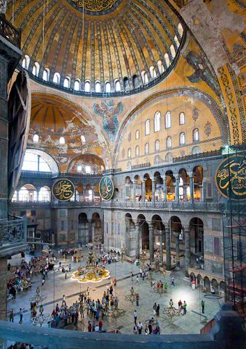 The immense interior of the 1,700 year-old Aya Sophia