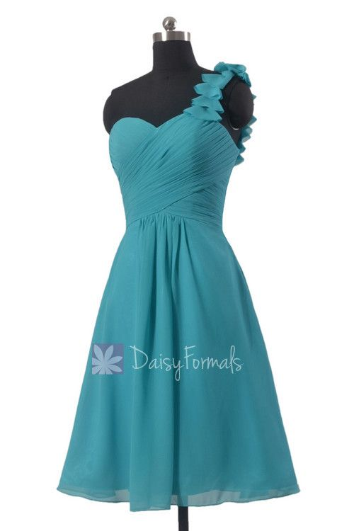 Short Cyan One-Shoulder Chiffon Bridesmaid Dress Turquoise Chiffon Bridal Party Dress(BM300)