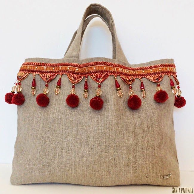 Mi bolso de lino con un toque étnico / Santa Pazienzia