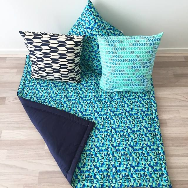 Sebastian's comfort pack! These make a great, personalised gift for a special someone in your world. $120 for the reversible, padded mat + 3 cushions. Custom orders available for the same price!