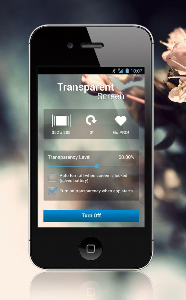 Transparent Screen App by Barjinder Singh, via Behance
