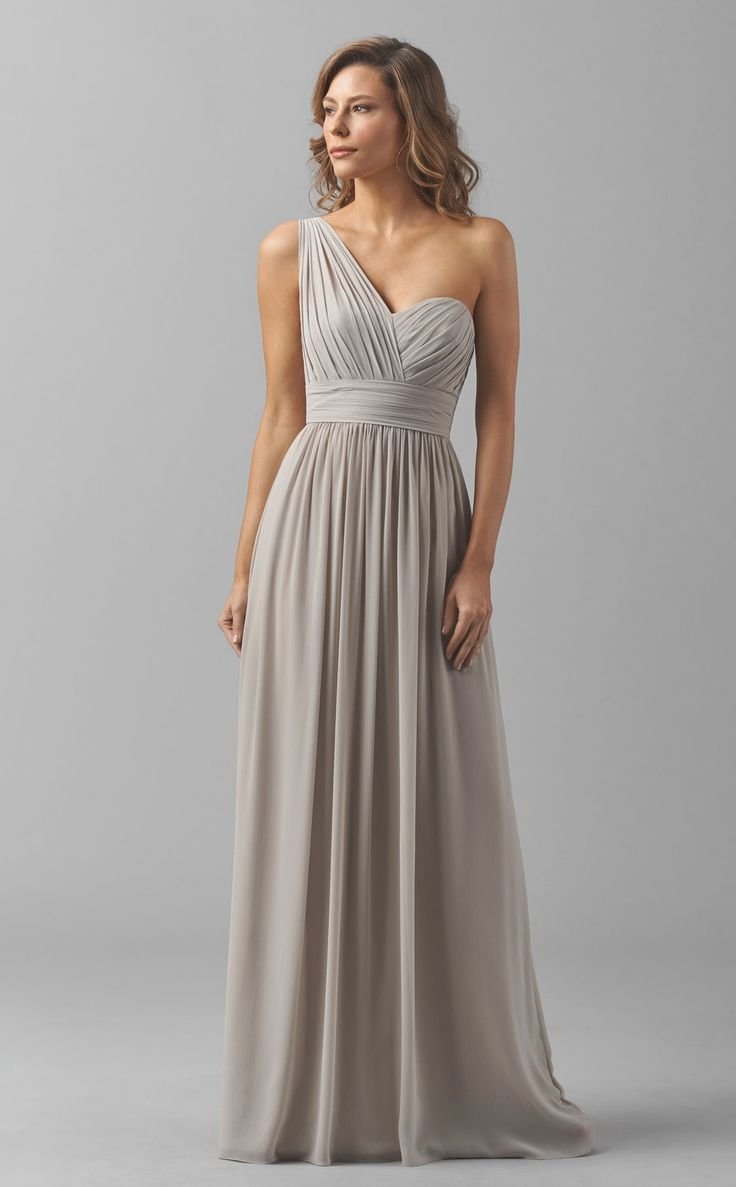 Long Chiffon Sliver Empire Waist One Shoulder Bridesmaid Dresses