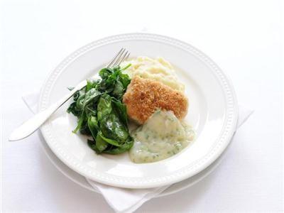 MAGGI > Recept > Koolvis uit de oven met crème saus, aardappelpuree en spinazie