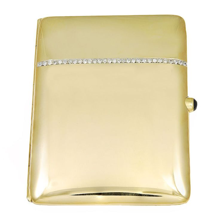 Sleek and Chic Diamond and Gold Card Case ~ Gently rounded 14K gold case with an elegant row of full-cut diamonds. Cabachon sapphire clasp