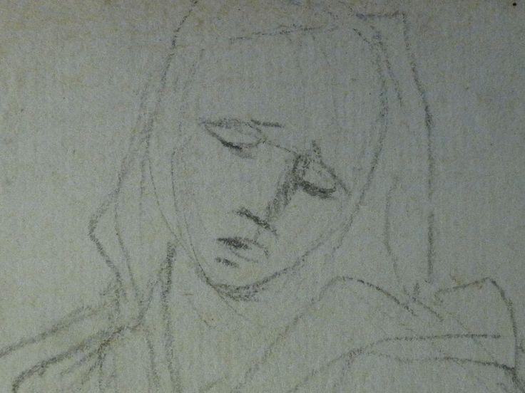 AVELLINO Anofrio - Le Christ mort soutenu par la Vierge et un Ange - drawing - Détail 04 - Vierge de douleur, tête - Virgin's head in pain -