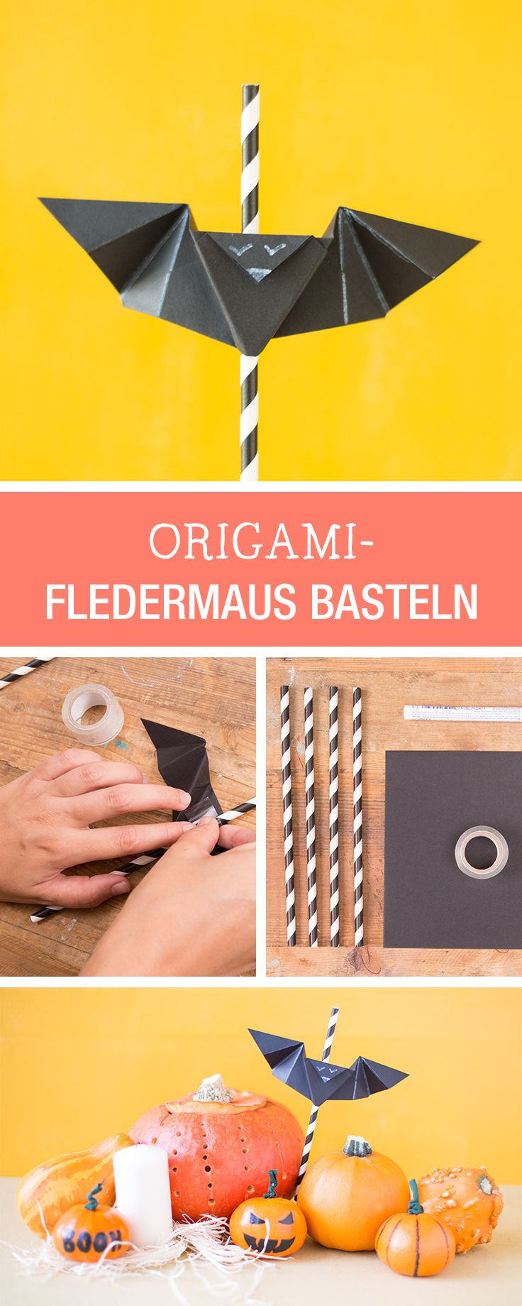 Origami Fledermäuse basteln als Halloween Deko / craft paper bats for halloween via DaWanda.com