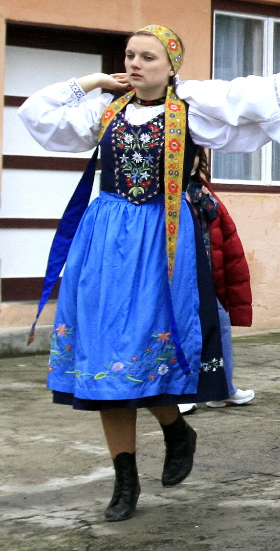Transylvanian Saxon folk costume from Zeiden/Codlea.Transylvania is a historical region in the central part of Romania.