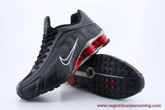 scarpe da calcetto Uomo Nero Rosso Bianco Nike Shox R4 Uomo 103169