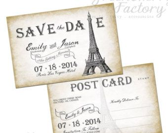 Paris themed wedding save the dates | Popular items for save the date post on Etsy