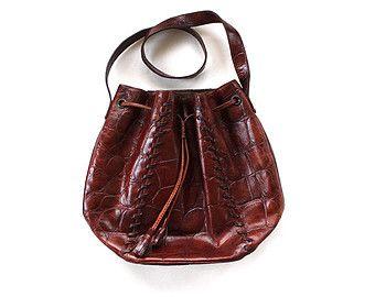 Vintage Brown Leather Drawstring Bucket Bag