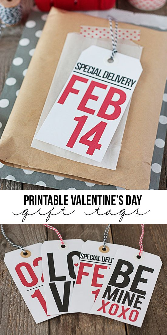 Th perfect way to add a little fun to your Valentine's Day gift giving with four printable Valentine gift tags you can download for free and print at home - at TidyMom.net