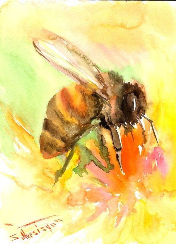 Abeille et fleur, aquarelle originale, peinture, 12 X 9 in, abeille, art lover abeille, apiculteur