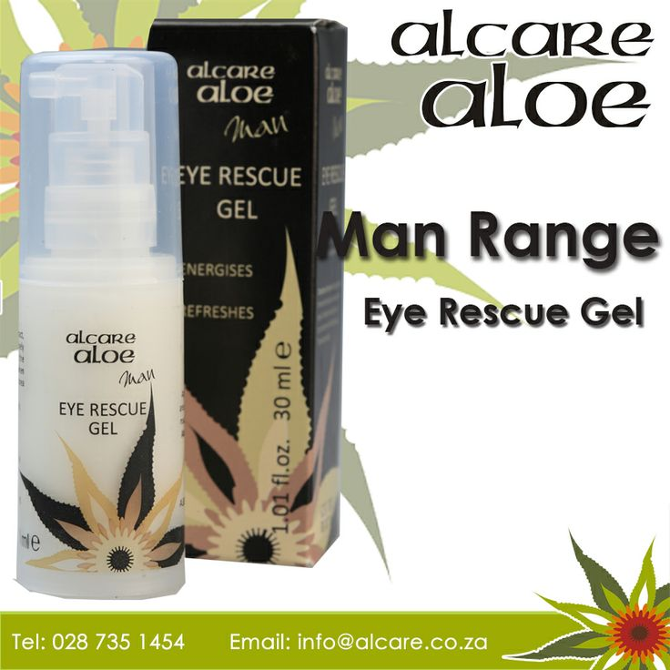 Alcare Aloe now have a range for range for Men Eye Rescue Gel. Enriched with Aloe ferox extract, this skin energizer effectively penetrates to deliver the key benefits when applied to the sensitive skin area around the eyes.  Order online: http://on.fb.me/1fJVdeb #men #range #eye