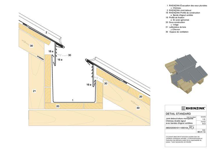 Exemple de détail pour la réalisation de couverture à joint debout en zinc RHEINZINK